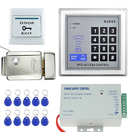 LIBO Full RFID Access Control System Kit Set Stand-Along Keypad with Metal Electric Lock DC12V 3A Power Supply Exit Button for Door Entry System