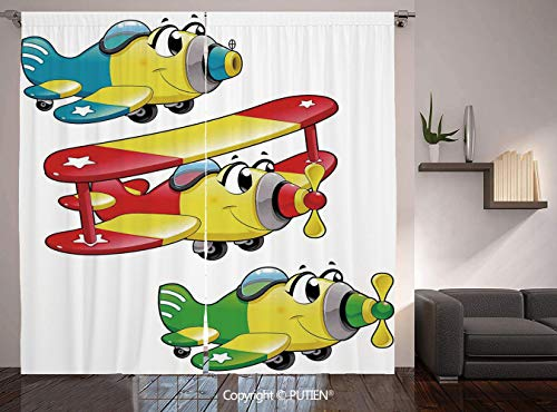 - Thermal Insulated Blackout Window Curtain [ Kids Boys and Girls Room Decor,Airplanes Plane Jet Cartoon Aircraft Flying Childrens Decor Decorative, ] for Living Room Bedroom Dorm Room Classroom Kitchen