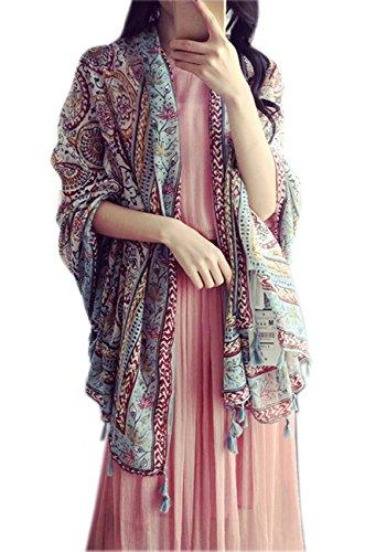 Women's Boho Bohemian Oversized Fringed Scarf Wraps Shawl Sheer Gift (08) (Over Scarf)
