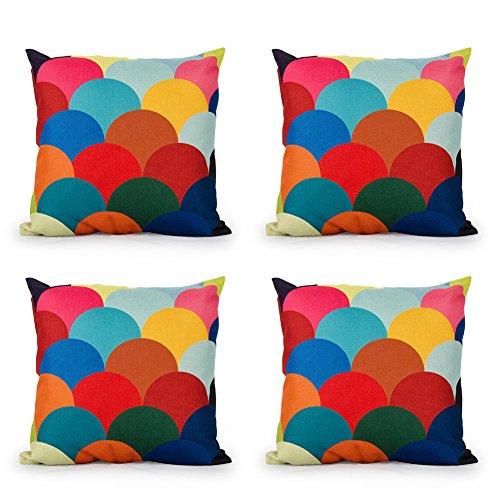 Top Finel Sofa decor Cotton Linen Square Decorative Throw Pillows Cushion Covers 18x18 inch Set of 4-squama2 - Art Deco Sofa