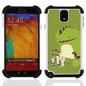 """SAMSUNG Galaxy Note 3 III / N9000 / N9005 - 3 en 1 impreso colorido de Altas Prestaciones PC Funda chaqueta Negro cubierta gel silicona suave (Dinosaurio lindo Juego"""")"""