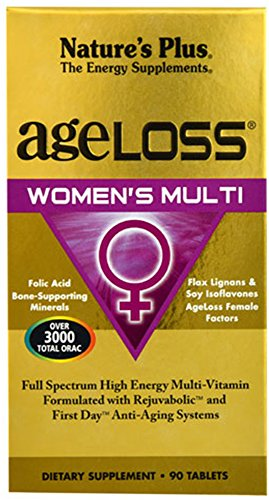 Natures Plus AgeLoss Womens Multi - 90 Tablets - Antiaging Multivitamin & Mineral Supplement, Menstrual & Menopausal Support, Antioxidant, Anti Inflammatory - Gluten Free - 30 Servings