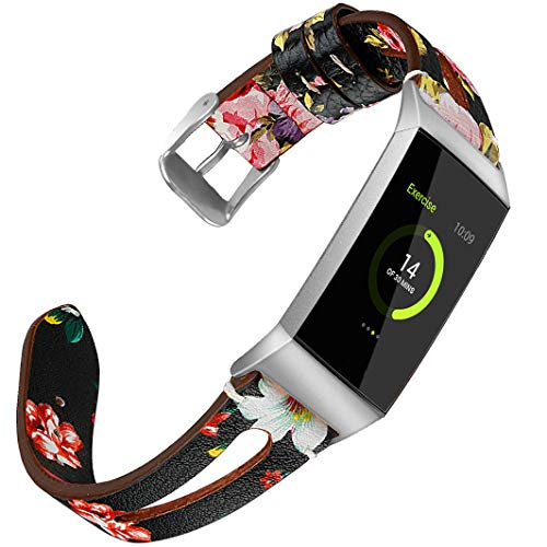Airzeer Slim Leather Bands Compatible with Fitbit Charge 3 & Charge 3 SE, Feminine Cute Breathable Genuine Leather Replacment Wristbands Accessories Strap Small Large (Black/Red Flower, Large)