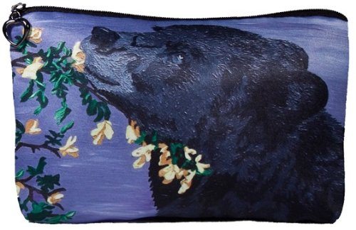 Black Bear Cosmetic Bag, Zip-top Closer - Taken From My Original Paintings (Bear - Moment of Bliss)