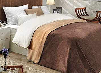 Ottomanson Bed Blankets, Bedspread, Plush Cotton Throw, Soft Cotton Cozy Blanket, 80'' L x 90'' W, Dark Brown & Tan Reversible