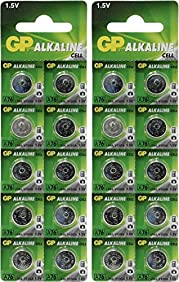 GP A76 LR44 AG13 Alkaline Cell 1.5V Alkaline Button Cell Battery x (20) Batteries