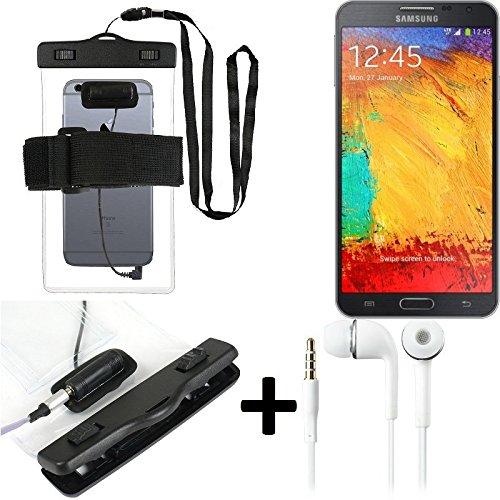 Estuche estanco al agua con entrada de auriculares para Samsung Galaxy Note 3 Neo LTE+ + auricular incluido, transparente | Trotar bolsa de playa al aire libre caja brazalete del teléfono caso de cásc
