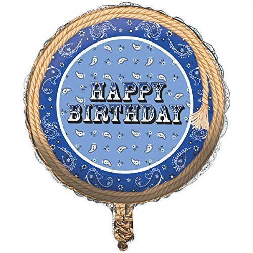 Creative Converting Blue Bandana Happy Birthday 18 inch Foil Balloon -