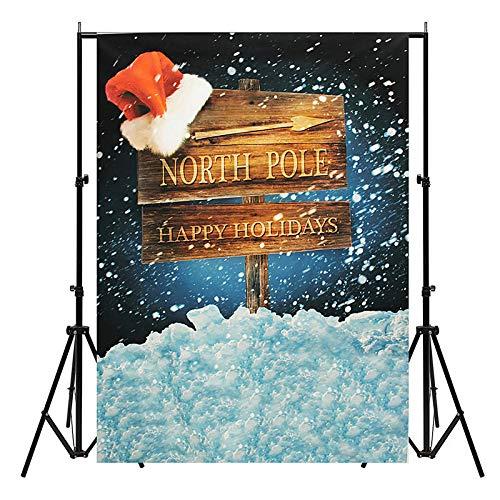 5x7ft Christmas North Pole Santa Hat Thin Vinyl Photography Backdrop Background Studio Photo Props - Studio Equipments Backdrops - 1 x Photography Background