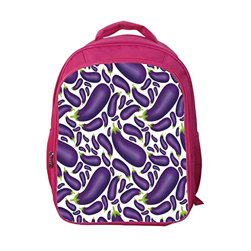 iPrint School Bags Kid's Backpacks Strong Durability,Eggplant,Delicious Aubergines in Abstract Representaiton Fresh Dish Healty Food Vegetable,Purple White,Custom Design.