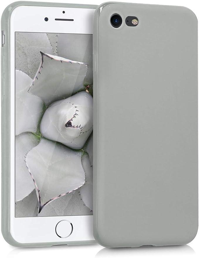 Image ofkwmobile Funda Compatible con Apple iPhone 7/8 / SE (2020) - Carcasa de TPU Silicona - Protector Trasero en Gris