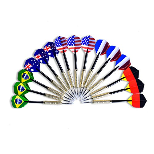 Check Out This Emarth 15pack Tip Darts with National Flag Flights (5 Styles) - Stainless Steel Needl...
