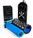 Tribe 2 in 1 Foam Roller - for Physical Therapy, Trigger Point Muscle Stimulation, Shin Splints, Back Pain, Lactic Acid Reducer (Black, Medium)