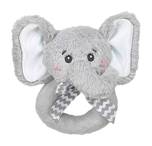 Bearington Baby Lil' Spout Elephant Plush Ring Rattle 5.5