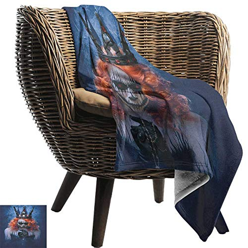 AndyTours Travel Throw Blanket,Queen,Queen of Death Scary Body Art Halloween Evil Face Bizarre Make Up Zombie, Navy Blue Orange Black,Super Soft and Warm,Durable Throw Blanket 60