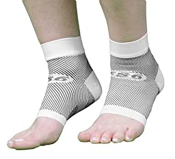 OrthoSleeve FS6 Compression Foot Sleeve (Pair), White, Large