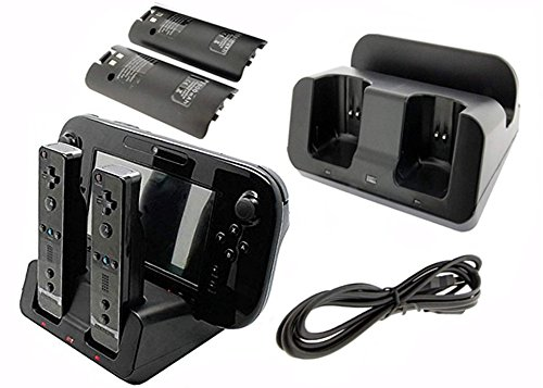 1 Wii - eLUUGIE 3 in 1 Charger Dock Charging Station Base with Two 2800mah Rechargeable Batteries for Nintendo Wii U gamepad charger stand WII U Gamepad Controller charger dock