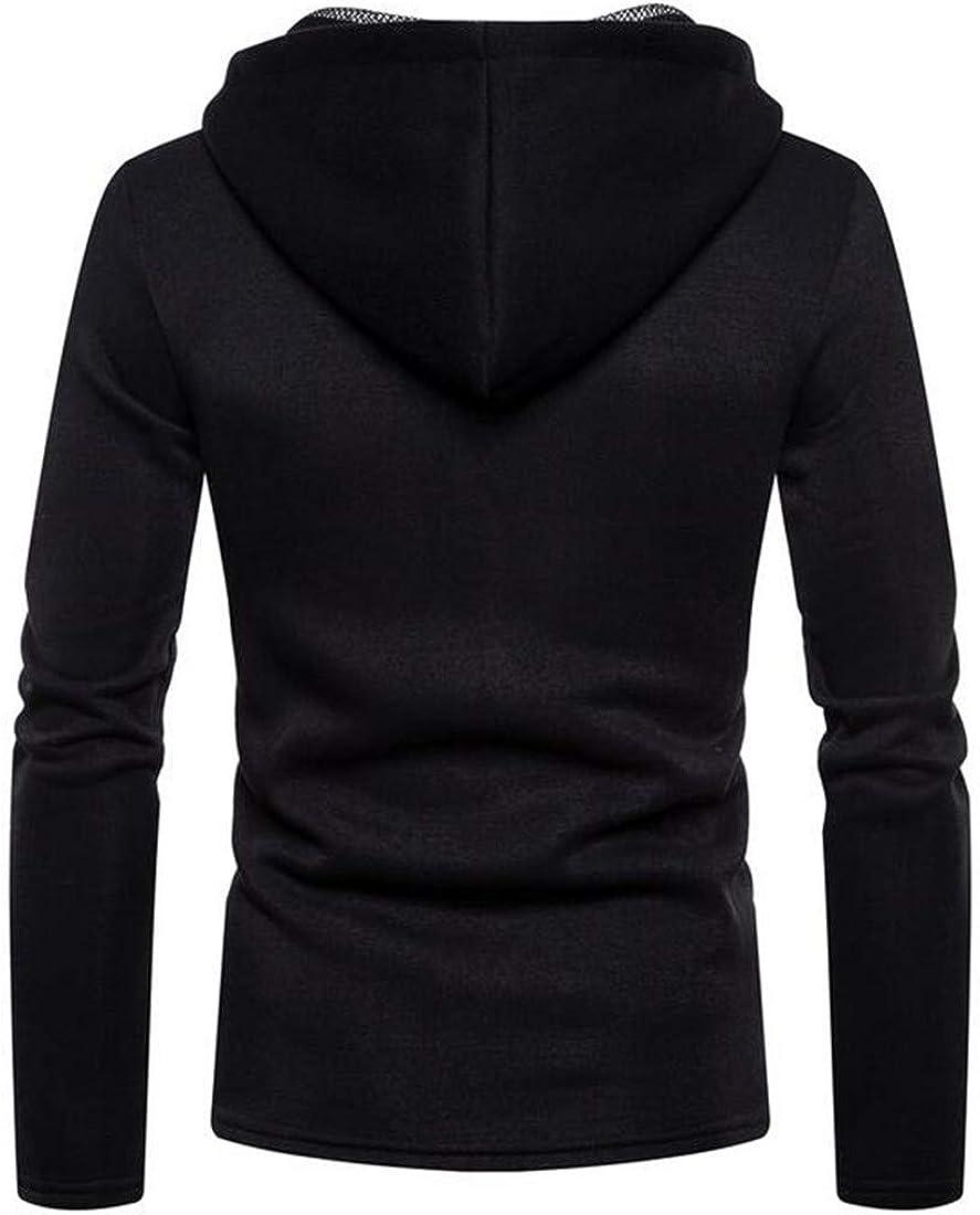 XTX Mens Hoodies Casual Stitch Net Long Sleeve Pullover Sweatshirts