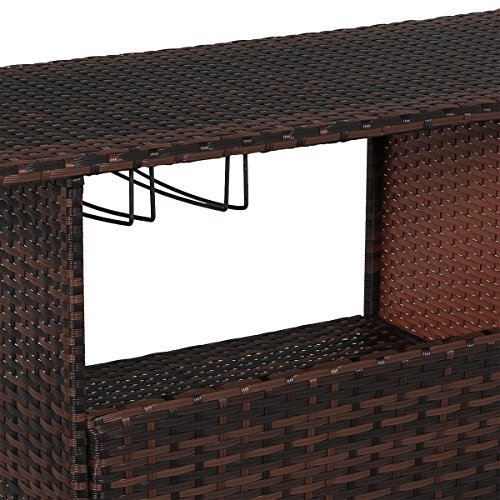 U-MAX Outdoor Rattan Wicker Bar Counter Table Shelves Garden Patio Furniture - Brown