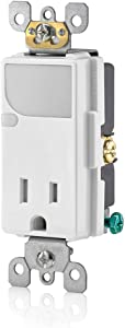 Leviton T6525-W Decora Tamper Resistant Combination Receptacle, 1 P,White