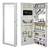 SortWise Lockable Door Mounted Jewelry Cosmetic Mirror Cabinet Chest Armoire Wardrobe Storage Organizer, with Lock & Mirrored Door for Bedroom Home, White (Door Mounted)