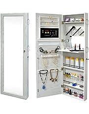 SortWise ® Lockable Door Mounted Jewelry Cosmetic Mirror Cabinet Chest Armoire Wardrobe Storage Organizer, with Lock & Mirrored Door for Bedroom Home, White (Door Mounted)