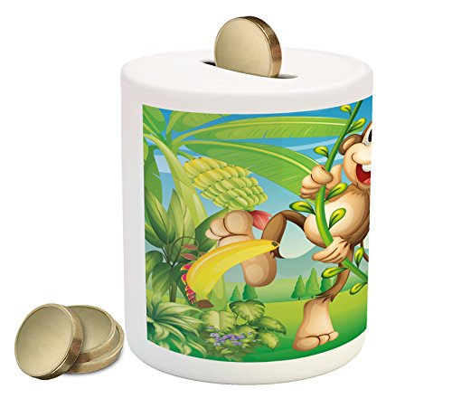 Nursery Piggy Bank by Ambesonne, Two Monkeys Near the Banana Plant Tropical Nature Landscape Vine Funny Animals Apes, Printed Ceramic Coin Bank Money Box for Cash Saving, Multicolor