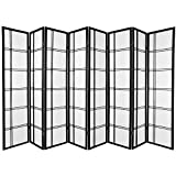 Oriental Furniture Extra Big Large Wide Room Dividers Collapsible Partiton, 6-Feet Double Cross Folding Shoji Privacy Floor Screen, 8 Panel Black