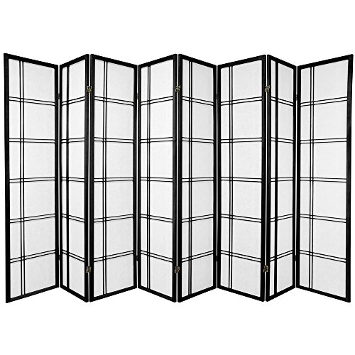 Oriental Furniture 6 ft. Tall Double Cross Shoji Screen - Black - 8 Panels by ORIENTAL FURNITURE