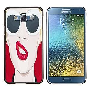 EJOOY---Cubierta de la caja de protección para la piel dura ** Samsung Galaxy E7 E700 ** --Pop Art Labios rojos atractivos
