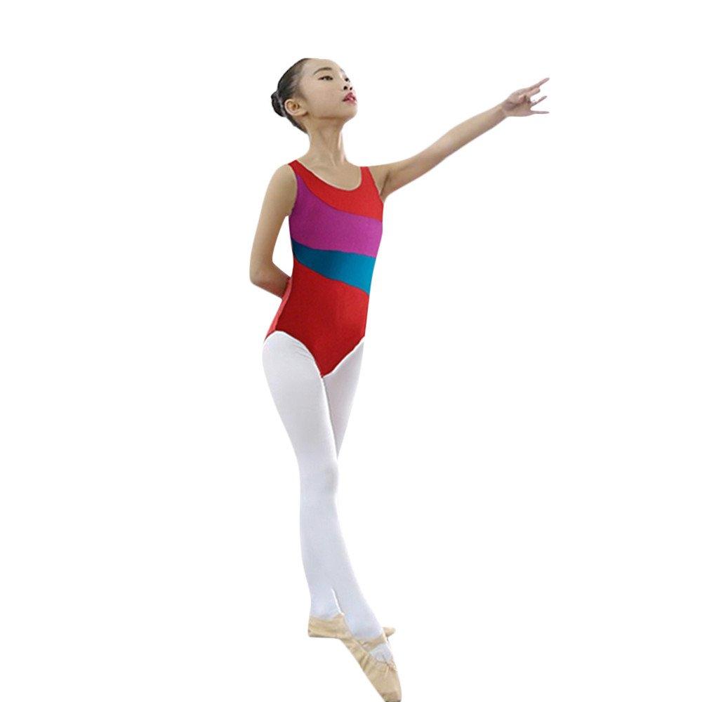 OTINICE Little Girls Sleeveless Leotard Skirt Classic Ballet Gymnastics Playsuit Dance Dress Red