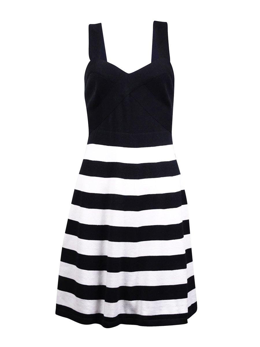 Trina Trina Turk Women's Envy Stripe Stitch Fit N Flare Sweater Dress, Black/White Wash, Medium