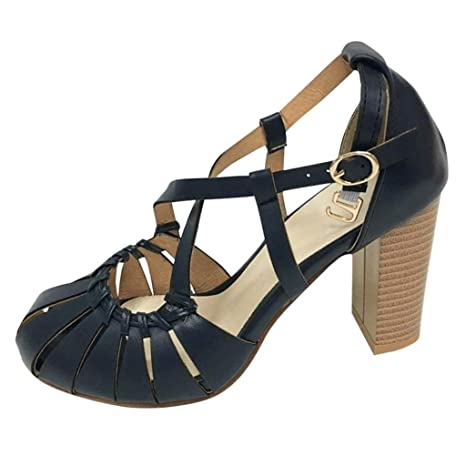 993be632c42 Amazon.com: CHUNKUNA Women's Open Toe Strappy Cut Out Caged Chunky ...