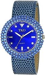 TKO ORLOGI Women's TK618BL Leather Blue Crystal Slap Watch
