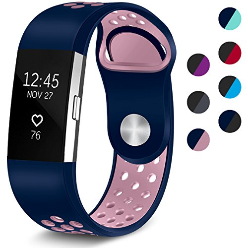 Maledan Replacement Sport Bands with Air Holes Compatible for Fitbit Charge 2, Blue/Pink, Large