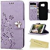S7 Case, Samsung Galaxy S7 Case - Mavis's Diary 3D Handmade Bling Butterfly Crystal Diamond Embossed Flowers PU...