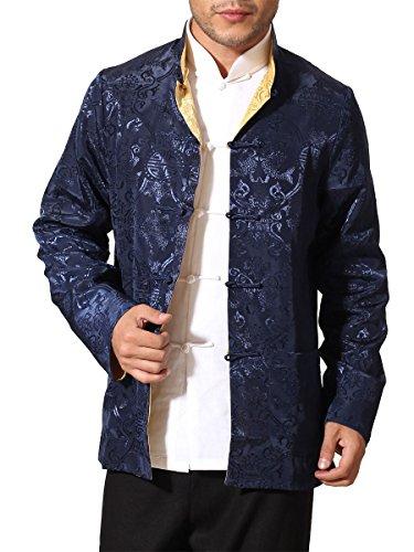 Jacket Kung Fu - Bitablue Men's Auspicious Reversible Chinese Shirt (XX-Large, Navy Blue/Yellow)