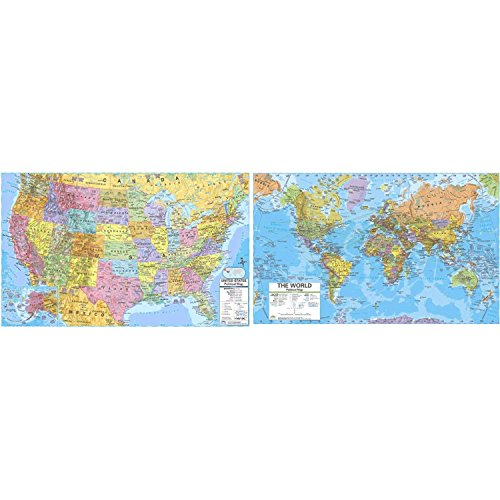 KAPPA Map UNI2982227 U.S./World Advanced Political Rolled Laminated Map Set, Grade 6-12, 46