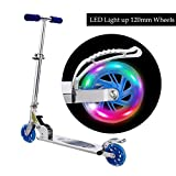 Scooter for kids with LED Light Up Wheels, Adjustable Height Kick Scooters for Boys and Girls, Rear Fender Break, 5lb Lightweight Folding Light Up Kids Scooter, 110lb Weight Capacity (blue/B2)