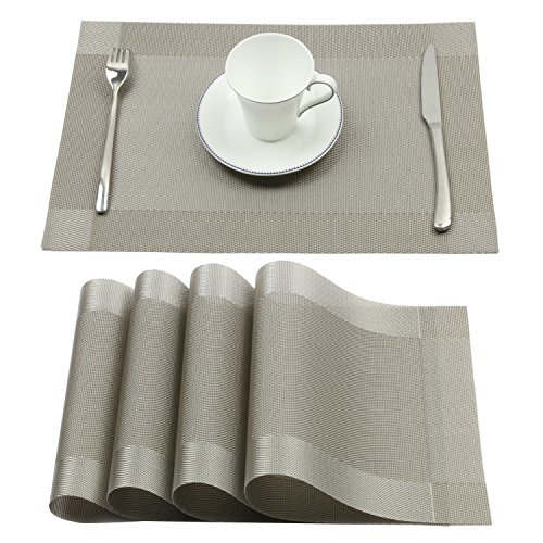 Borlan Placemats Washable Kitchen Table Place Mat Stain-resistant Crossweave Woven Vinyl Dining Table Mats Set of 4(Gray)