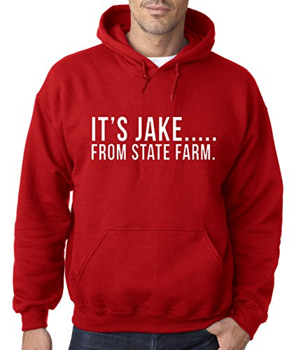 New Way 484 - Hoodie It's Jake From State Farm Commercial Ad Unisex Pullover Sweatshirt Medium Red ()
