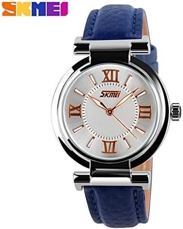 Girl's Fashion Genuine Leather Band Quartz Watch Blue