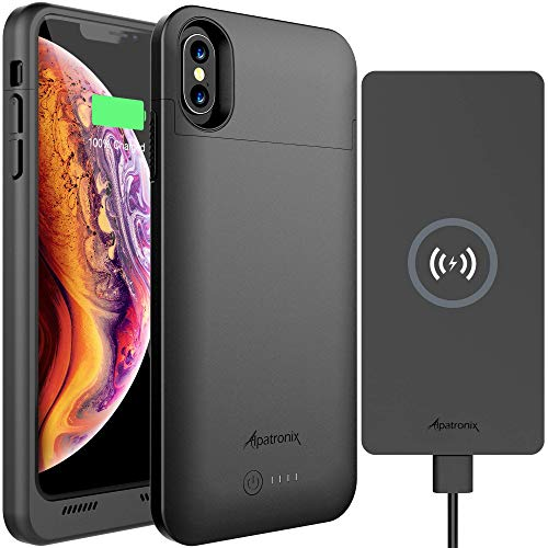 iPhone X/XS Battery Case & Wireless Charger: Alpatronix BXX 4200mAh 5.8-inch Portable Qi Compatible Extended Charging Power Case & 10W Thin Non-Slip Fast Charge Wireless Pad for Qi-Enabled Devices