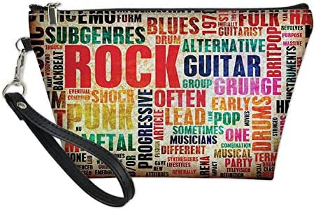 Travel Cosmetic Bag for Women,Retro Rock and Roll Symbol Lettering Grunge Style Distressed Colors Back Then Sound Music Theme,Organizer Zipper Makeup Bags Pouch Toiletry