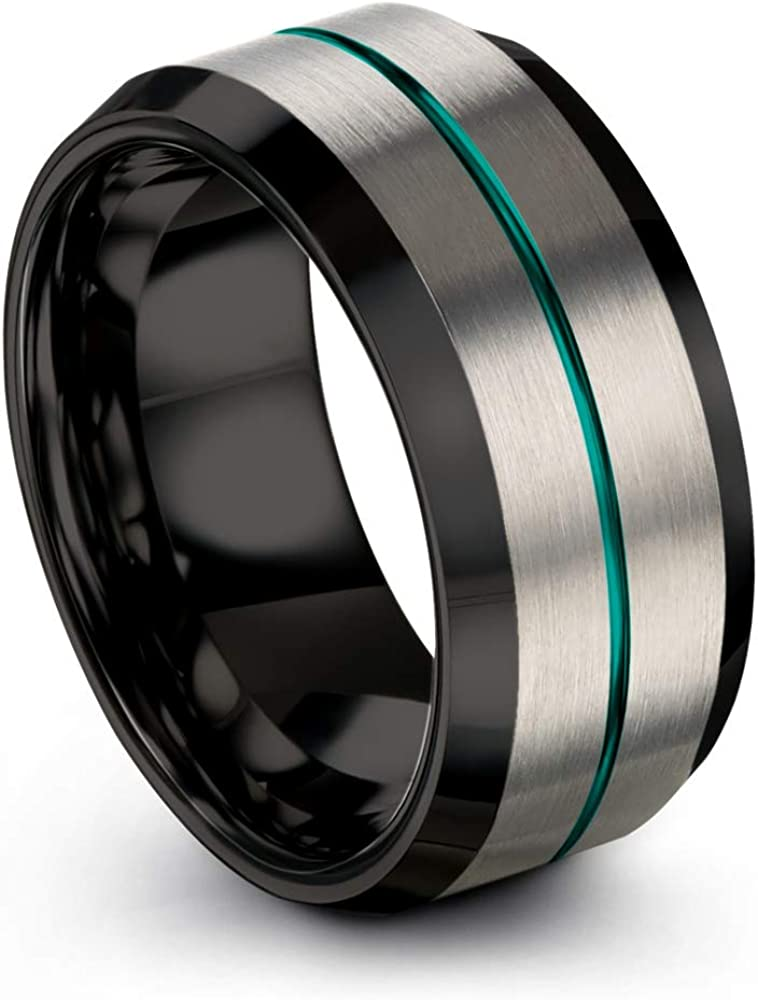 Chroma Color Collection Tungsten Carbide Wedding Band Ring 10mm for Men Women Green Red Blue Purple Black Center Line Grey Exterior Bevel Edge Brushed Polished