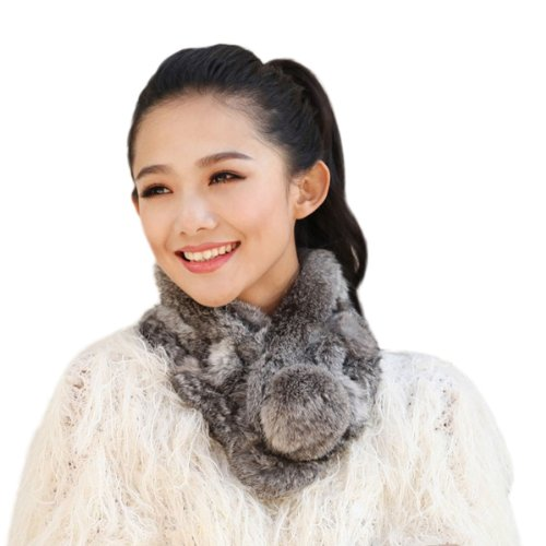 Knitted Fur Scarf (URSFUR Women Winter Fur Pull Through Scarf Soft Rabbit Pom Neck Collar Scarves (Grass Gray))