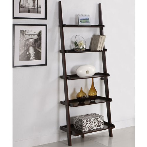 Walnut Five-tier Leaning Ladder Book Shelf