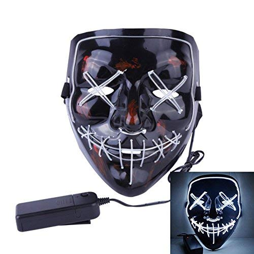 Roolina Halloween Mask LED Light up Purge Mask for Festivals, Halloween Costume, Rave, Festivals, and Cosplay (White) -