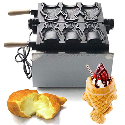 (BSTOOL Commercial Electric Nonstick Fish Shape Waffle Making Machine Taiyaki Baker Mini Household Ice Cream Maker)
