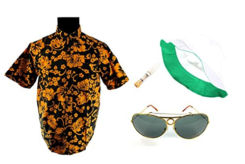 [Fear and Loathing in Las Vegas Full Costume Raoul Duke with Dark Green Glasses (XL)] (Fear In Loathing In Las Vegas Costume)